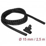 Delock Spiral Hose 2.5m x 15mm Black (18835)