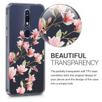 KW Θήκη Σιλικόνης Nokia 7.1 (2018) - Magnolias light pink / white / transparent (200-104-297)