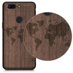 KW Ξύλινη Θήκη για OnePlus 5T - Brown - World Map Walnut (46730.03)