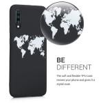 KW Θήκη Σιλικόνης Samsung Galaxy A70 - World Map White/Black (200-104-272)