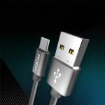 Rock Καλώδιο Φόρτισης και Μεταφοράς Δεδομένων USB σε Type-C 1M - Γκρι (200-104-617)
