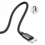 Baseus Yiven Braided Charge & Data Sync Cable 2A USB to Lightning 1.2m Black (CALYW-01) - (200-104-688)