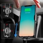 Baseus Wireless Charger Gravity Car Mount Phone Bracket Air Vent Holder + Qi Charger black (WXYL-01) - (200-105-846)