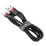 Baseus Cafule Durable Nylon Braided Καλώδιο USB σε Lightning QC3.0 1.5A 2M  – Μαύρο/Κόκκινο (CALKLF-C19) - (200-104-687)