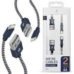 Dux Ducis K-TWO Series Set Καλωδίων USB σε Lightning 1m + 20CM – Μπλε -  (200-104-691)