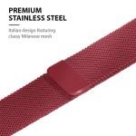Crong Milano Steel - Premium Μεταλλικό Λουράκι Apple Watch SE/6/5/4/3 (40/38mm) - Red (CRG-40MST-RED)