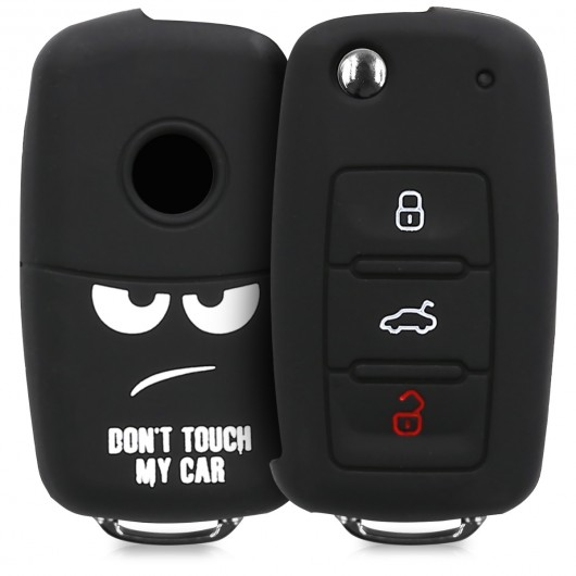 KW Silicone Θήκη Κλειδιού VW Skoda Seat - 3 Κουμπιά- Don't Touch My Car (200-104-783)