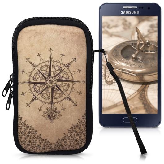 KW Θήκη πουγκί για κινητά έως 5.5 inches- Kompass Barock Desing Dark Brown / Beige (200-104-599)