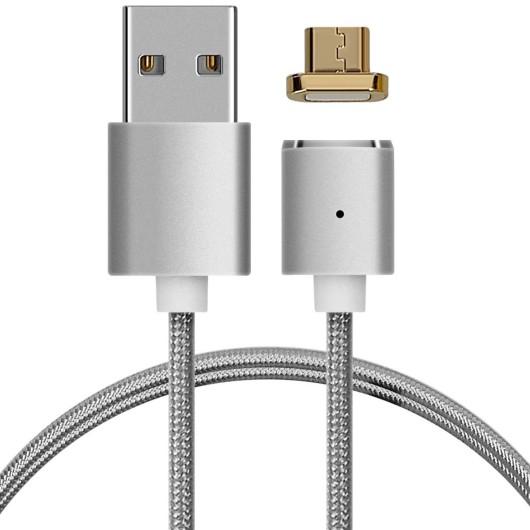 Μαγνητικό Καλώδιο Nylon Micro USB - Silver by KW