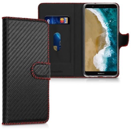 KW Θήκη - Πορτοφόλι Huawei P Smart - Carbon Black / Red (200-104-882)