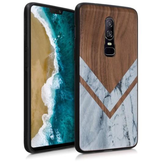 KW Ξύλινη Θήκη OnePlus 6 - Brown - Bumper Wood and Marble walnut (200-104-307)