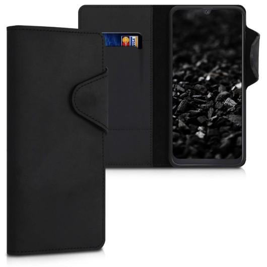Kalibri Δερμάτινη Suede Θήκη - Πορτοφόλι Samsung Galaxy Α50 - Μαύρο (200-104-225)