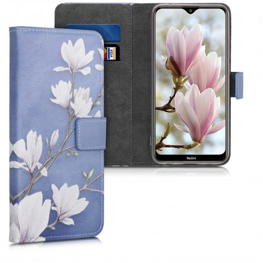 Θήκη-Πορτοφόλι για Xiaomi Redmi 8A - Magnolias taupe / white / blue grey by KW (200-104-883)