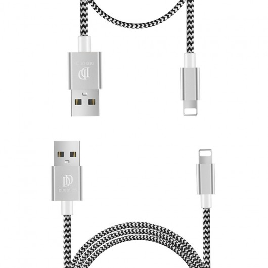 Dux Ducis K-TWO Series Set Καλωδίων USB σε Lightning 1m + 20CM – Ασημί - (200-104-690)