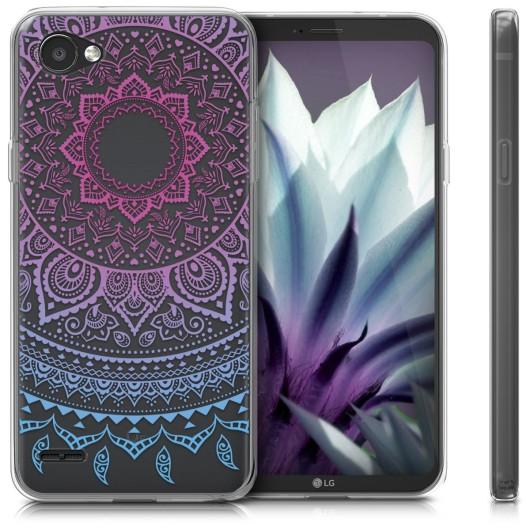 Ημιδιάφανη Θήκη σιλικόνης Indian Sun Blue Dark pink LG Q6 by KW