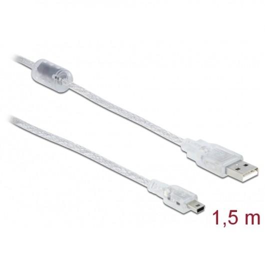 Delock USB-A 2.0 > Mini USB-B 5pin 1.5m Transparent (83906)