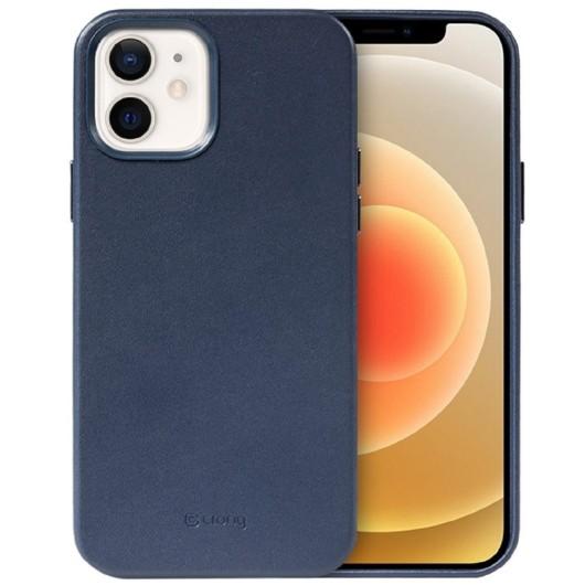 Crong Essential Eco Leather - Σκληρή Θήκη Apple iPhone 12 / 12 Pro - Navy Blue (CRG-ESS-IP1261-BLUE)