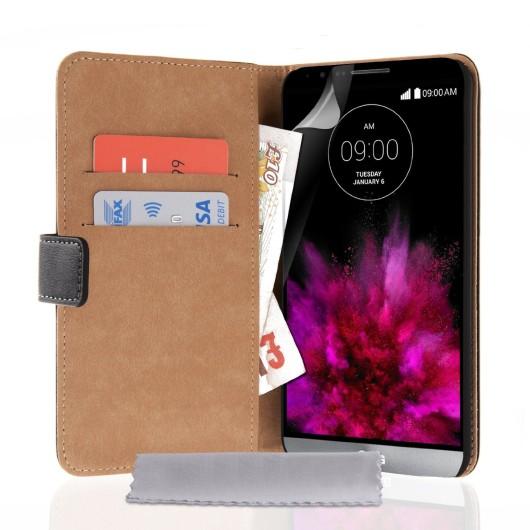 Δερμάτινη θήκη- πορτοφόλι για LG G4 μαύρη by YouSave