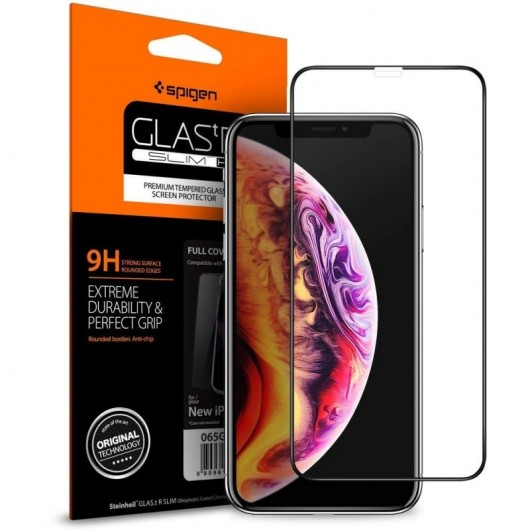Spigen® GLAS.tR™ Full Cover HD iPhone XS Max Premium Tempered Glass (065GL25232)