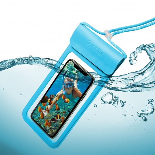 Celly Universal Αδιάβροχη Θήκη Πουγκί για Smartphones έως 6.5'' - IPX8 - Blue (SPLASHBAG19LB)