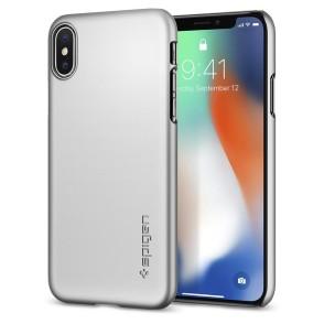 Spigen iPhone X Thin Fit Satin Silver (057CS22113)