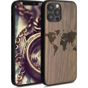 KWmobile Σκληρή Ξύλινη Θήκη με TPU Bumper Apple iPhone 12 Pro Max - Travel Outline / Dark Brown (200-107-803)