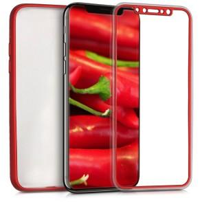 Θήκη Full Body για Apple iPhone X (2017) back cover metallic dark red by KW (200-102-466)