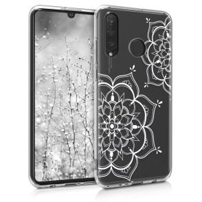 Θήκη Σιλικόνης για Huawei P30 Lite Flower Twins Silver/Transparent by KW (47501.14)