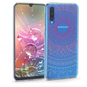 KW Θήκη Σιλικόνης Samsung Galaxy A50 - Blue/Dark Pink/Transparent (200-103-977)