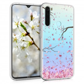 Θήκη Σιλικόνης για Xiaomi Redmi Note 8T - Cherry Blossoms Light Pink / Dark Brown / Transparent by KW (200-105-449)
