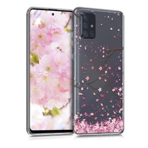KW Θήκη Σιλικόνης Samsung Galaxy A71 - Cherry Blossoms Light Pink / Dark Brown / Transparent (200-105-637)