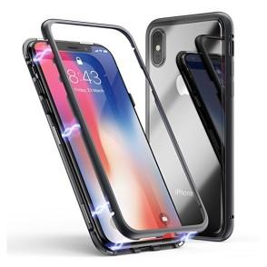 Μαγνητική Μεταλλική Θήκη – Detachable Metal Frame για iPhone XS Max – Μαύρη διάφανη (200-103-415)