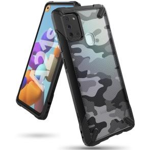 Ringke Fusion-X Θήκη Samsung Galaxy A21s με TPU Bumper - Camo Black (200-107-590)