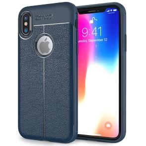 Θήκη Leather Look για iPhone X by Centopi μπλέ και δώρο screen protector (200-102-636)