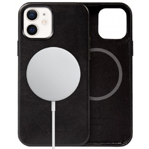 Crong Essential Eco Leather Magnetic - Σκληρή MagSafe Θήκη Apple iPhone 12 / 12 Pro  -  Black (CRG-ESSM-IP1261-BLK)