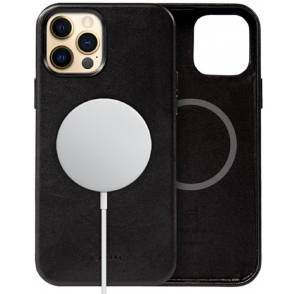 Crong Essential Eco Leather Magnetic - Σκληρή MagSafe Θήκη Apple iPhone 12 Pro Max - Black (CRG-ESSM-IP1267-BLK)