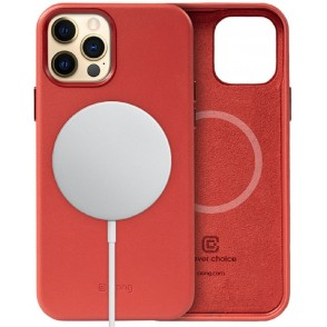 Crong Essential Eco Leather Magnetic - Σκληρή MagSafe Θήκη Apple iPhone 12 Pro Max - Red (CRG-ESSM-IP1267-RED)