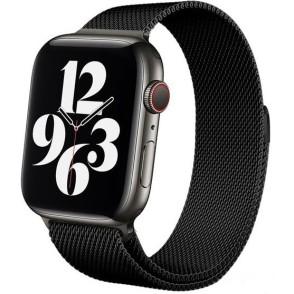 Crong Milano Steel - Premium Μεταλλικό Λουράκι Apple Watch SE/6/5/4/3 (40/38mm) - Black (CRG-40MST-BLK)