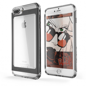 Ghostek Θήκη Tough Cloak 2 Series Aluminium για iPhone 7 - Clear / Black + Tempered Glass (GHOCAS466)