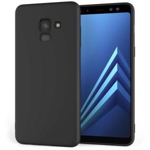 Θήκη σιλικόνης για Samsung Galaxy A8 (2018) μαύρη ματ by Caseflex και δώρο screen protector (200-102-578)