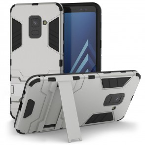 Caseflex θήκη Armour Combo Stand Samsung Galaxy A8(2018) - Silver και δώρο screen protector (200-102-580)