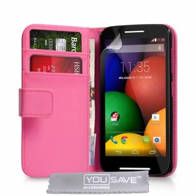 Ροζ Θήκη- Πορτοφόλι για Motorola Moto E