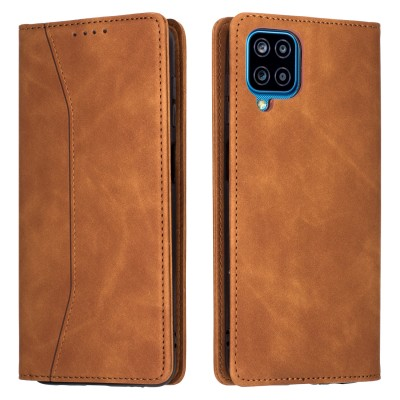 Bodycell Book Case Pu Leather For Samsung A12 Brown