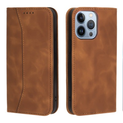 Bodycell Book Case Pu Leather For iPhone 13 Pro Max Brown 200-108-571)