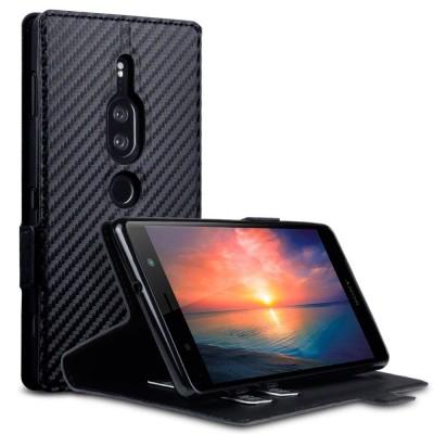 Terrapin Low Profile Θήκη - Πορτοφόλι Carbon Fibre Sony Xperia XZ2 Premium - Black