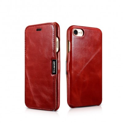 iCarer Vintage Series Side-Open Δερμάτινη Θήκη iPhone 8/7 - Red (RIP 702)