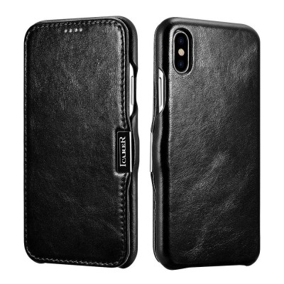 iCarer Vintage Series Side-Open Δερμάτινη Θήκη iPhone X / XS - Black (RIX 01)
