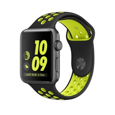 Ανταλλακτικό Λουράκι Σιλικόνης Apple Watch 3/2/1 - 42mm - Black/Lime By Tech-Protect