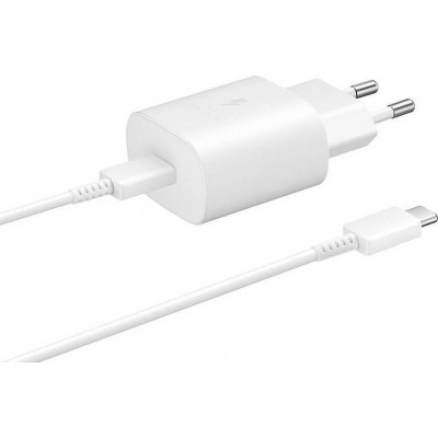 Official Samsung Φορτιστής Ταξιδιού Type - C σε Type - C με Καλώδιο Fast Charge 25W - White (EP-TA800XWEGWW)