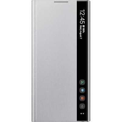 Official Samsung Clear View Cover - Θήκη Flip με Ενεργό Πορτάκι Samsung Galaxy Note 10 - Silver (EF-ZN970CSEGWW)
